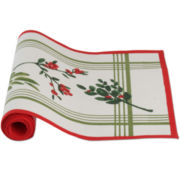 Holiday Greenery Stripe Table Runner