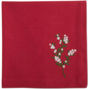 Holiday Greenery Embroidered Set of 4 Napkins