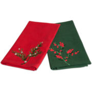 Holiday Greenery Set of 2 Guest Towels