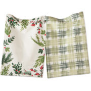 Holiday Greenery Set of 2 Dish Towels