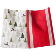 Prancing Reindeer Set of 2 Dish Towels