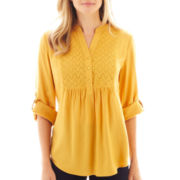St. John's Bay® Long-Sleeve Eyelet Tunic