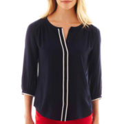 jcp™ 3/4-Sleeve Peasant Top - Tall
