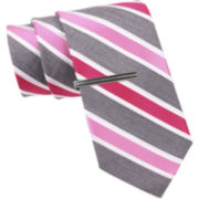 JF J. Ferrar® Heathered Stripe Slim Tie