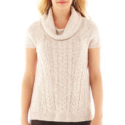 Worthington® Short-Sleeve Chunky Cable Knit Sweater - Petite