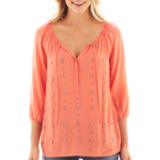 jcp™ 3/4-Sleeve Embroidered Peasant Top