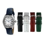 Peugeot® Womens Crystal-Accent Interchangeable Leather Strap Watch Set 679S