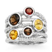 Multi-Gemstone 5-Row Sterling Silver Ring