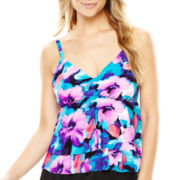 Trimshaper® Floral Print Tiered Tankini Swim Top