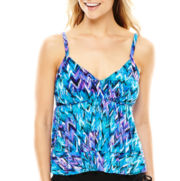 Trimshaper Print Tiered Tankini Swim Top