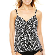 Trimshaper Print Tankini Swim Top