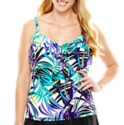 Trimshaper® Tropical Print Ruffled Tankini Swim Top - Plus