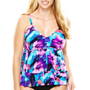 Trimshaper® Floral Print Tiered Tankini Swim Top - Plus
