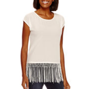 a.n.a® Short-Sleeve Fringe T-Shirt