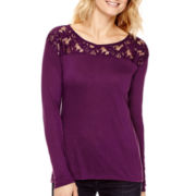 a.n.a® Long-Sleeve Lace Yoke Top - Tall