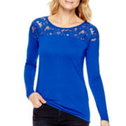 a.n.a® Long-Sleeve Lace Shoulder T-Shirt