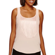 a.n.a® Fabric-Mix Fringe Tank Top - Tall
