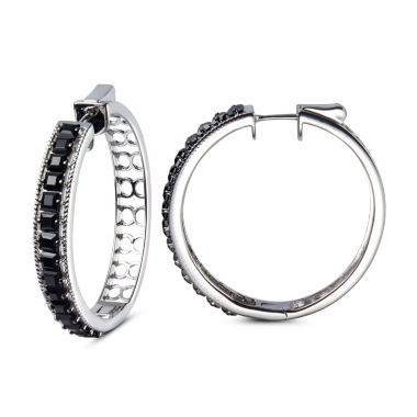 jcpenney.com | Black Spinel Sterling Silver Hoop Earrings