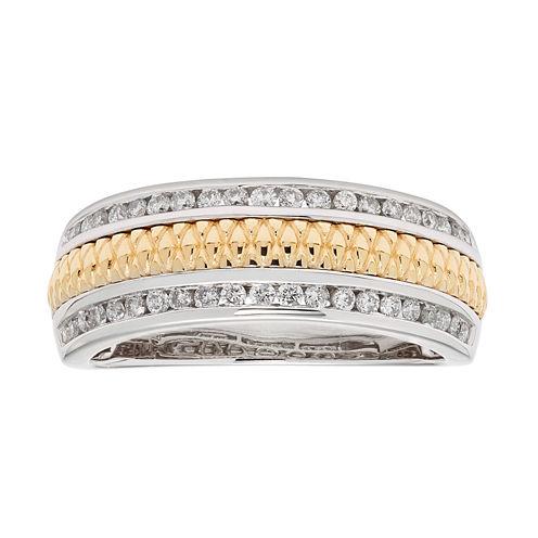 Womens 1/3 CT. T.W. Genuine White Diamond 14K Gold Wedding Band