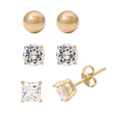 jcpenney.com | 3-pc. White Cubic Zirconia 14K Gold Over Silver Earring Sets