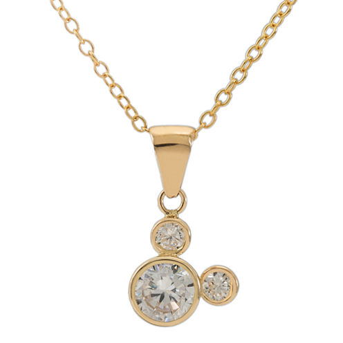 Disney® 14K Yellow Gold Cubic Zirconia Mickey Mouse Pendant Necklace