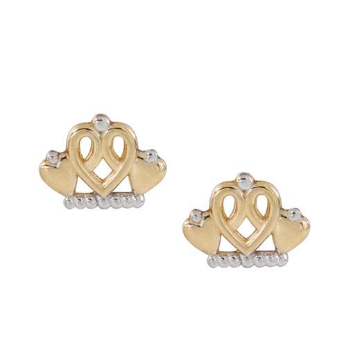 Disney® 14K Yellow Gold Princess Crown Stud Earrings