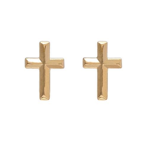 14K Yellow Gold Cross Stud Earrings
