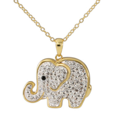 jcpenney.com | 14K Yellow Gold Over Silver Crystal Elephant Pendant Necklace