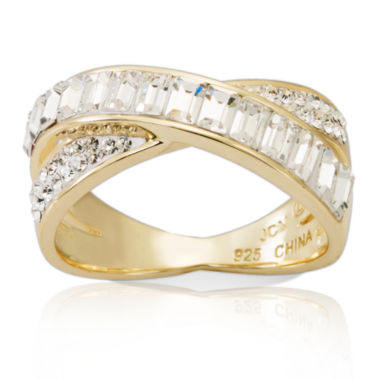 jcpenney.com | Womens White Crystal Gold Over Silver Band