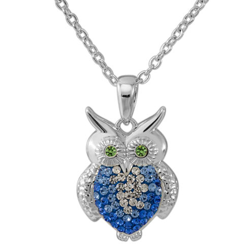 Sterling Silver Crystal Owl Pendant Necklace