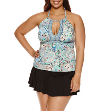 jcpenney.com | Liz Claiborne® Paisley Bliss Keyhole Tankini or Skirted Hipster- Plus