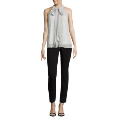 jcpenney.com | Worthington Sleeveless Pleated Metallic Mesh Bow Blouse and Slim Fit Ankle Pants
