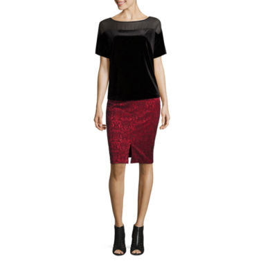 jcpenney.com | Worthington Short Sleeve Scoop Neck Velvet Blouse and Slit Front Pencil Skirt