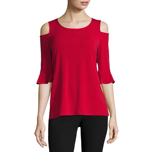Worthington Elbow Sleeve Cold-Shoulder T-Shirt