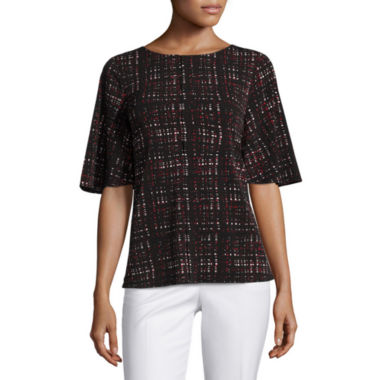 jcpenney.com | Worthington Short Sleeve Round Neck Knit Blouse-Petites