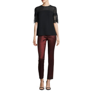 jcpenney.com | Worthington Short Lace Sleeve Blouse and Slim Fit Ankle Pants
