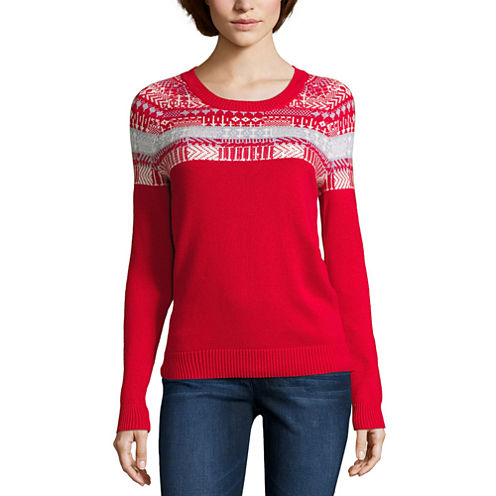 Liz Claiborne Long Sleeve Boat Neck Pullover Sweater-Talls