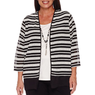 jcpenney.com | Alfred Dunner Wrap It Up 3/4 Sleeve Layered Top Plus