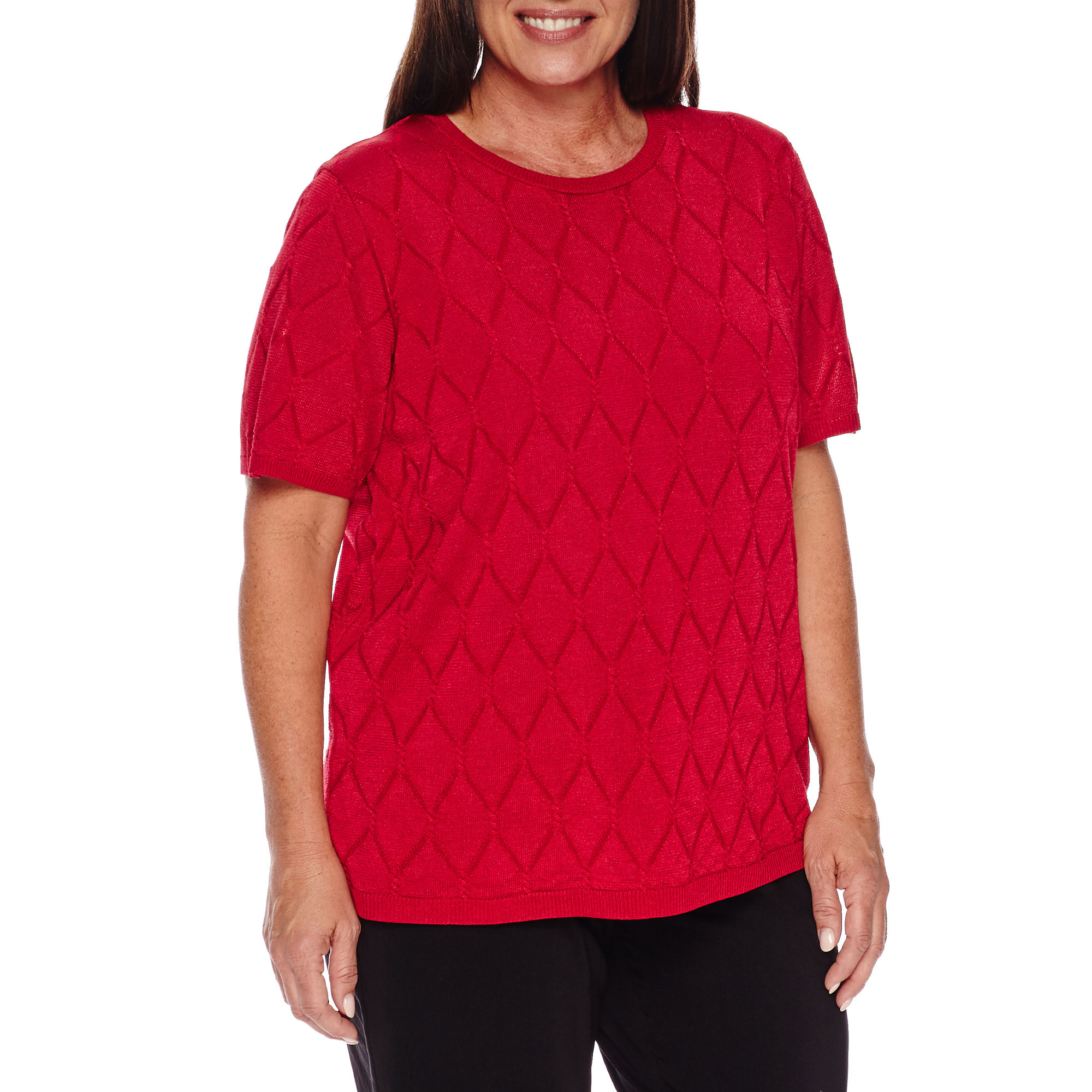 Alfred Dunner Wrap It Up Short Sleeve Crew Neck Pullover Sweater-Plus