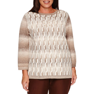 jcpenney.com | Alfred DunnerTwilight Point  Long Sleeve Boat Neck Pullover Sweater-Plus