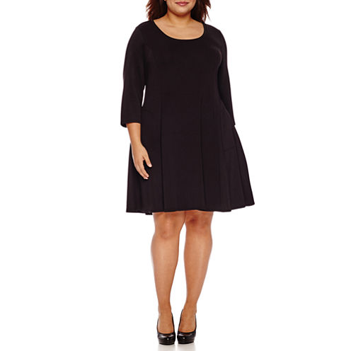 Boutique + Long Sleeve Fit & Flare Dress-Plus