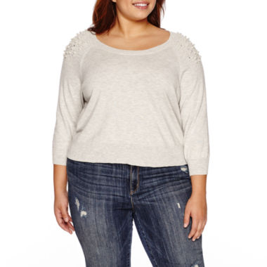 jcpenney.com | Ashley Nell Tipton for Boutique + 3/4 Sleeve Scoop Neck Pullover Sweater-Plus