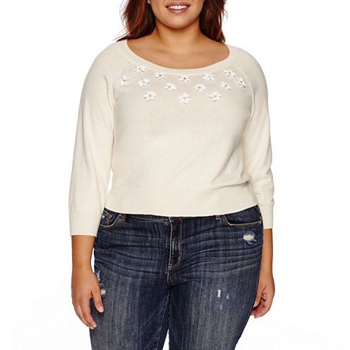 Boutique + 3/4 Sleeve Scoop Neck Pullover Sweater-Plus
