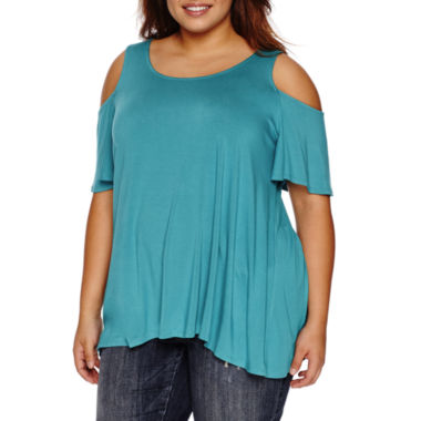 jcpenney.com | Boutique + Short Sleeve Round Neck Knit Blouse-Plus