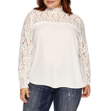 jcpenney.com | Belle + Sky Long Sleeve Round Neck Woven Blouse-Plus