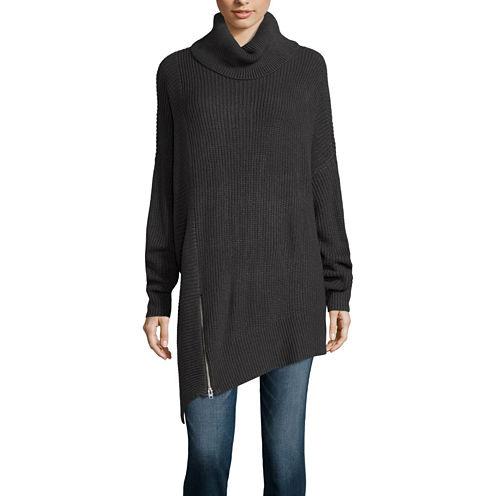 a.n.a® Long-Sleeve Asymmetrical-Zip Poncho Sweater