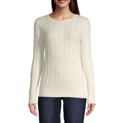St. John's Bay-Tall Cable Womens Crew Neck Long Sleeve Pullover Sweater - JCPenney