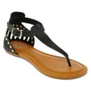 Studded Caged Back T-Strap Sandals