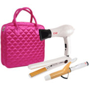 CHI® Travel Flat Iron, Hair Dryer and Curling Iron in Pink Quilted Bag