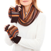 MUK-LUKS® Fair Isle Flip-Top Mittens and Funnel Neck Cover Set